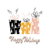 Bokstäver och gåvor för lycklig ferie för ferier unik handskriven Modernt hälsningkort för vinter med gåvor också vektor för core Arkivbilder