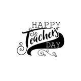 Bokstäver och kalligrafi som är moderna - lycklig läraredag till dig Klistermärke stämpel, gjord logo - hand - vektor illustrationer