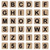 Bokstäver och nummer för alfabet för brädelek stock illustrationer