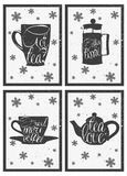 Bokstäver på den varma kaffe- och tekoppen tecknad hand vektor illustrationer