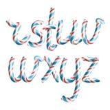 Bokstäver R, S, T, U, V, W, X, Y, Z vektor realistisk för Cane Alphabet Symbol In Christmas för godis 3D bokstav för nytt år färg Royaltyfri Foto