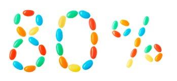 80% bokstäver som göras av isolerade mångfärgade godisar på vit Arkivbilder