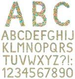 Bokstäver, tal och symboler för engelskt alfabet som göras av liten ca Royaltyfri Fotografi