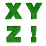 Bokstäver X, Y, Z! gjort av isolerat grönt gräs på vit Fotografering för Bildbyråer