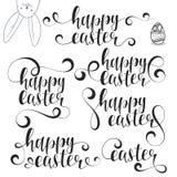 Bokstäverkalligrafiuppsättning lyckliga easter Calligraphic uttryckspåsk med kaninen vektor illustrationer