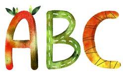 Bokstäverna av det engelska alfabetet för abc stock illustrationer