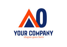 Bokstav AO Logo Design Vector Fotografering för Bildbyråer
