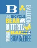 Bokstav B uttrycker design för affisch för typografiillustrationalfabet Arkivbilder