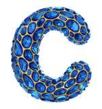 bokstav C för diamant 3D på isolerad vit Arkivfoto