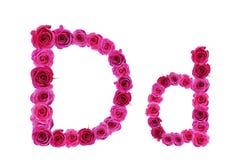 Bokstav D av rosor Arkivfoton