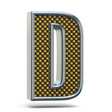 Bokstav D 3D för stilsort för Chrome metall apelsin prucken Arkivfoto