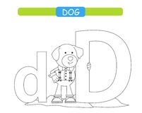 Bokstav D och rolig tecknad filmhund Djuralfabeta-z Gulligt zooalfabet i vektorn f?r ungar som l?r engelsk ordlista F?rgl?ggning  vektor illustrationer