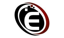 Bokstav E för teknologirörelsesynergi Royaltyfria Bilder