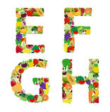 Bokstav för alfabet för för vektorillustrationfrukt och grönsak Fotografering för Bildbyråer