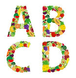 Bokstav för alfabet för för vektorillustrationfrukt och grönsak Arkivbilder