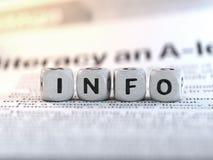 Bokstav för begrepp för information om informationssymbol arkivbild