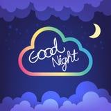 Bokstav för bra natt med moln- och himmelvektorn Royaltyfri Foto