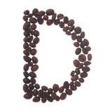 bokstav för kaffe D arkivfoto