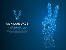 Bokstav för teckenspråk V, två fingrar upp, fred- eller segersymbol, Polygonal lågt poly Döv folkkommunikation vektor vektor illustrationer