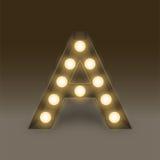 Bokstav A, illustration för uppsättning för ask för ljus kula för alfabet glödande Fotografering för Bildbyråer