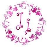 Bokstav J som för engelskt alfabet isoleras på en vit bakgrund, i en elegant ram som är handskriven grupper som tecknar spolning  royaltyfri illustrationer