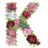 Bokstav K av vattenfärgblommor royaltyfri illustrationer
