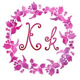 Bokstav K som för engelskt alfabet isoleras på en vit bakgrund, i en elegant ram som är handskriven grupper som tecknar spolning  royaltyfri illustrationer