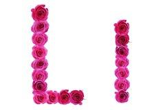 Bokstav l av rosor Arkivbild