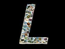 Bokstav L som för latinskt alfabet göras som collage av loppfoto Arkivbilder