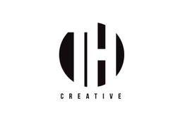 Bokstav Logo Design för H för TH T vit med cirkelbakgrund Royaltyfri Fotografi