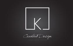 Bokstav Logo Design för K-fyrkantram med svartvita färger stock illustrationer