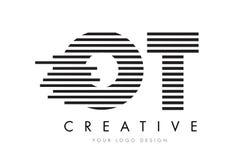 Bokstav Logo Design för sebra för OT-nolla T med svartvita band Arkivfoton