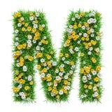 Bokstav M Of Green Grass och blommor Arkivbild