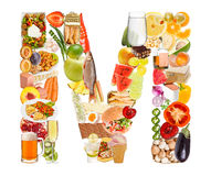 Bokstav M som göras av mat Fotografering för Bildbyråer