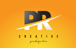 Bokstav moderna Logo Design för PR P R med gul bakgrund och Swoo Royaltyfri Fotografi