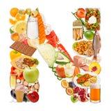 Bokstav N som göras av mat Arkivbilder