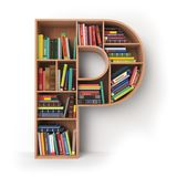 bokstav p Alfabet i form av hyllor med böcker som isoleras på Royaltyfria Bilder