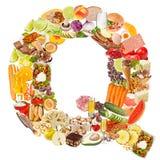 Bokstav Q som göras av mat arkivfoto