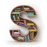 bokstav s Alfabet i form av hyllor med böcker som isoleras på Fotografering för Bildbyråer