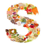 Bokstav S som göras av mat arkivfoto
