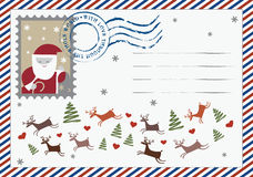 Bokstav till den Santa vykortet Arkivfoto