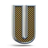 Bokstav U 3D för stilsort för Chrome metall apelsin prucken Arkivfoto
