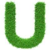 Bokstav U för grönt gräs Arkivfoto