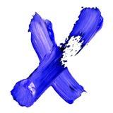 Bokstav U som dras med blåa målarfärger Arkivfoto