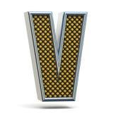 Bokstav V 3D för stilsort för Chrome metall apelsin prucken Royaltyfri Bild