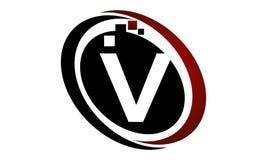 Bokstav V för teknologirörelsesynergi Arkivfoton