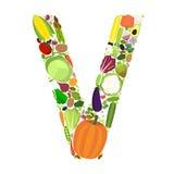 Bokstav V med grönsaker Royaltyfri Bild