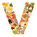 Bokstav V som göras av mat Arkivbild