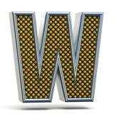 Bokstav W 3D för stilsort för Chrome metall apelsin prucken Arkivbild
