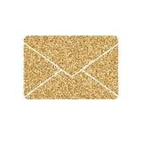 Bokstaven av postsymbolen med blänker effekt, på vit bakgrund Skissera symbolen av det pappers- kuvertet, vektorpictogram Arkivfoto